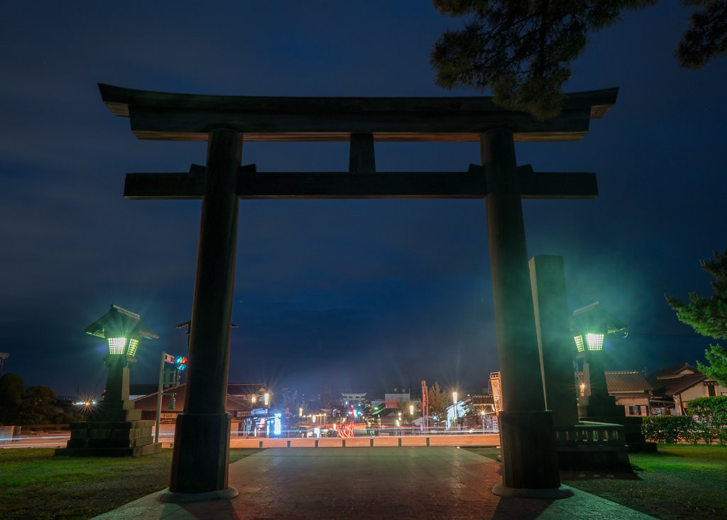 Izumo Taisha torii gate at blue hour after the rains