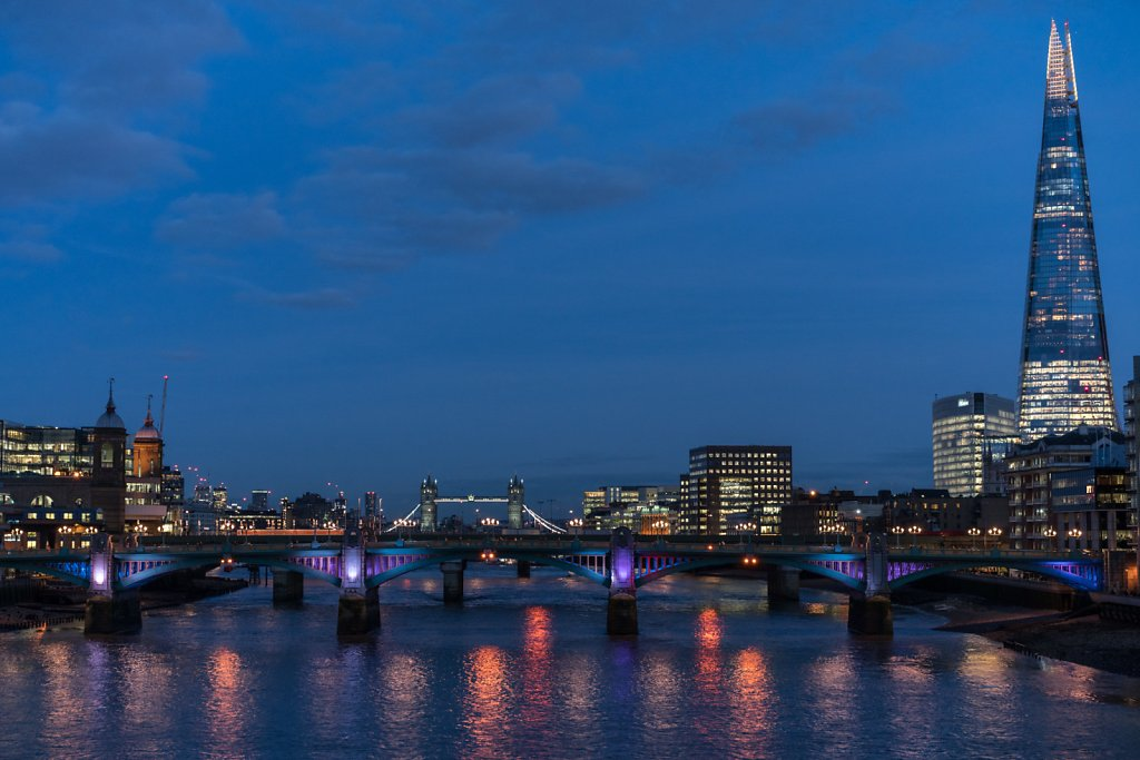 With Cannon Street Station, Southwark Bridge, and the Shard
